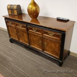 4 Drawer, 4 Door Storage Credenza Cabinet w/ Black Trim