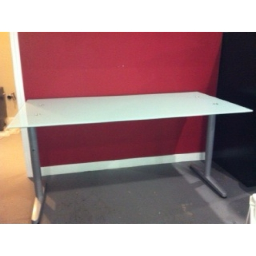 ikea galant frosted glass top desk brushed aluminum