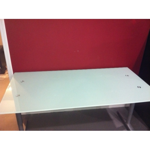 Ikea galant frosted glass top desk brushed aluminum buy sell used office - Glass office desk ikea ...