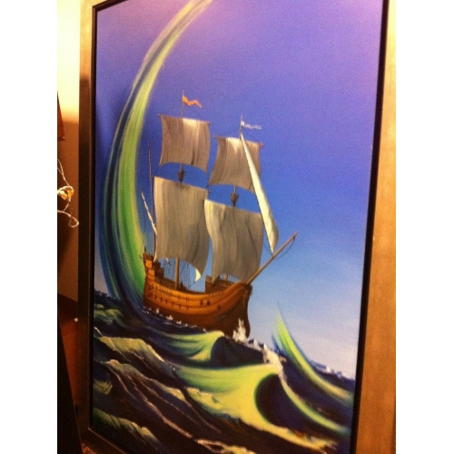 Framed Paintable Canvas Spanish Galleon Ship Painting