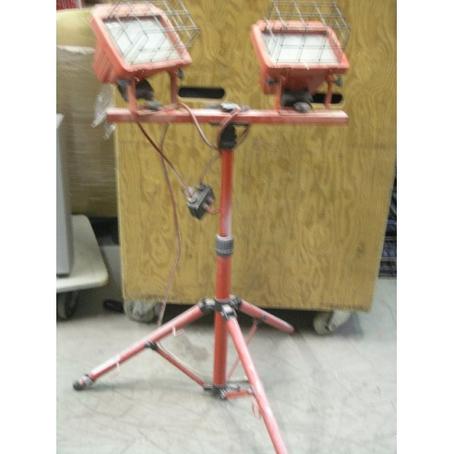 Commercial Electric Twin Halogen Work Lights On Tripod