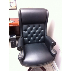 Executive Wing Back Button Tufted Leather Office Chair