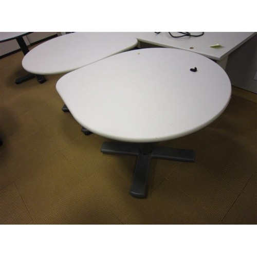 Tear drop 3 4 round table 41x36 light off white top for Off white round table