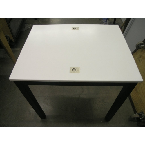White Corian Table With Laptop Locks Desk Worktable W