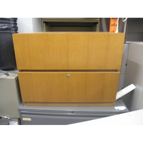 2 Drawer Red Oak Lateral File Cabinet 36x18x28 Allsold
