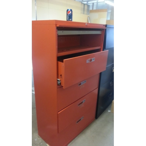 Orange Locking Lateral Filing Cabinet 5 Drawer Flip Front