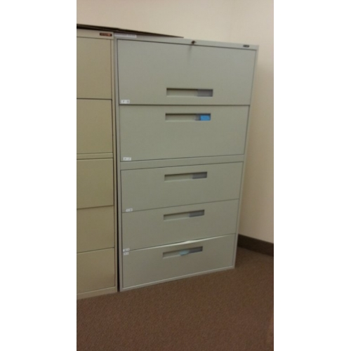 Light Grey 5 Drawer Filing Cabinet Lateral Locking