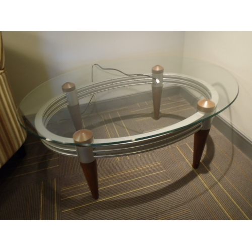 Oval glass coffee table w metal frame wood legs for Metal frame glass coffee table