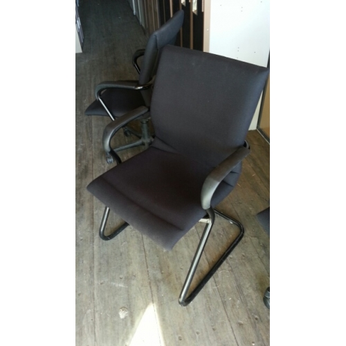 Steelcase Black Office Side Reception Guest Chair W Arms
