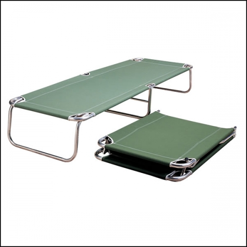 Folding Portable Cot Bed Green Canvas On Chrome Frame