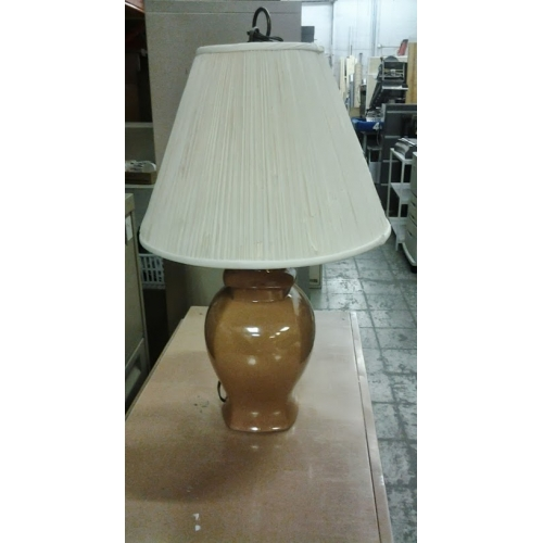 Brown Ceramic Table Lamp With Cream Colored Shade