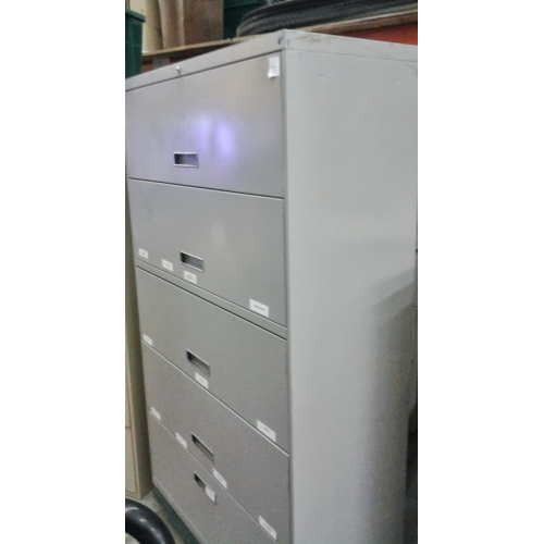 5 drawer lateral file cabinet flip style drawers grey locking allsold ca buy sell used