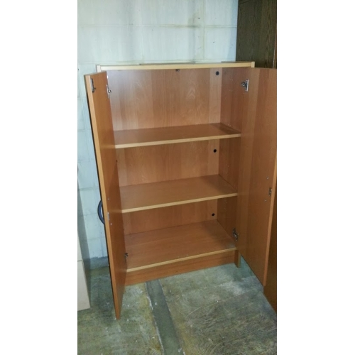 Brown Wood 2 Door Enclosed Storage Cabinet 2 Shelves Allsold Ca Buy Amp Sell Used Office