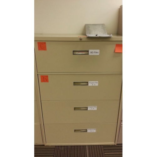 tan 4 drawer lateral file cabinet 36x18 full drawer