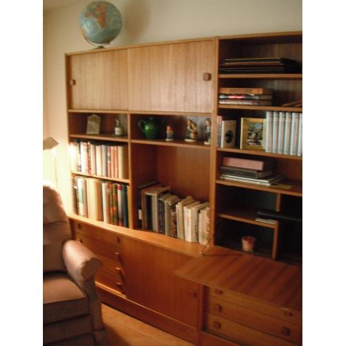 2 Piece Teak Wall Unit Book Case Display Hutch W