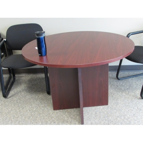 Mahogany 42 In Round Meeting Table W Wood Base Allsold