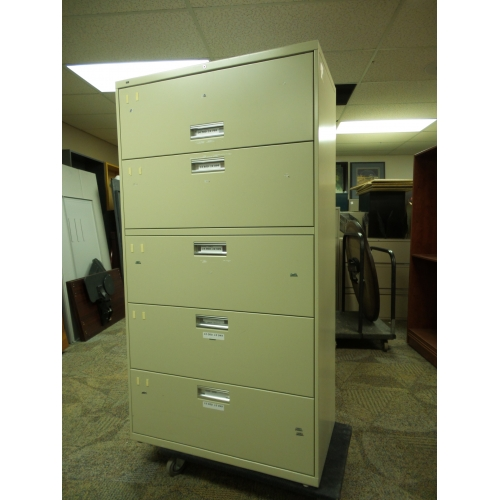Hon Beige 5 Drawer Lateral File Cabinet Flip Front Top