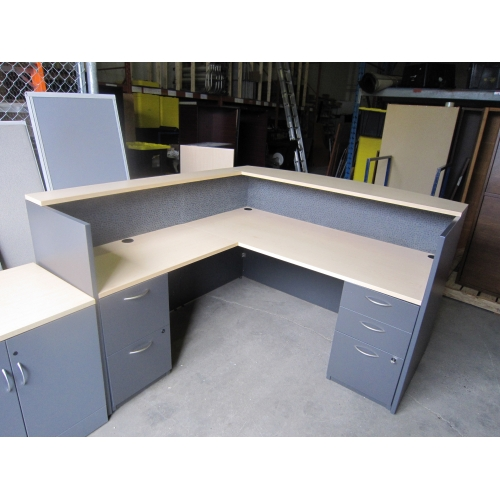 Global Grey Blonde L Shape Reception Desk W Transaction