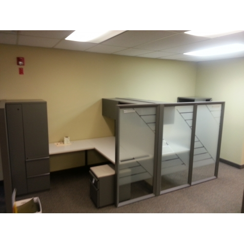 Knoll Grey Office Systems Furniture Desks Cubicles Pods Buy Sell Used Office