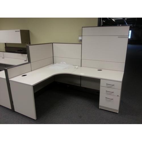 tayco beige 4 pod office systems furniture desks