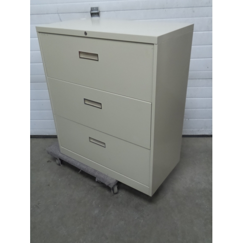 Beige 3 Drawer Lateral File Cabinet, Locking - Allsold.ca ...