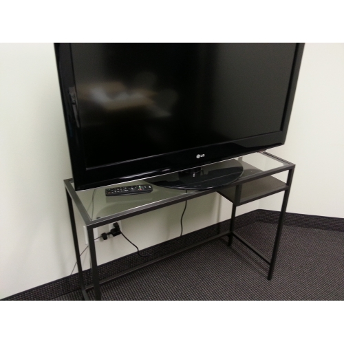 Ikea vittsjo metal and glass laptop table tv stand w shelf for Meuble tv metal ikea