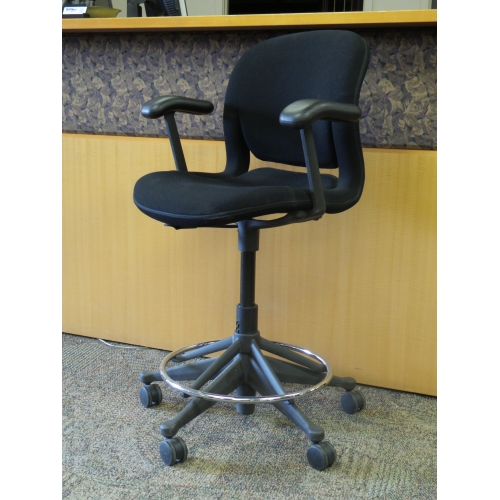 Herman Miller Equa Black Adjustable Drafting Stool W Arms