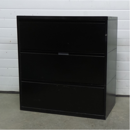 Meridian black 3 drawer lateral filing cabinet locking for Meridian cabinets