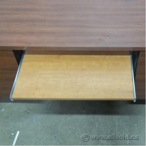 Brown 60 Quot Double Pedestal Straight Desk W Keyboard Tray