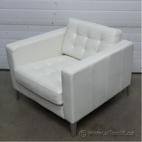 Ikea landskrona white leather reception lounge chair allsold ca