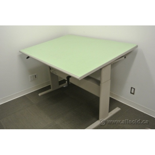 Teknion Sit Stand Tilt Surface Drafting Table Work Bench