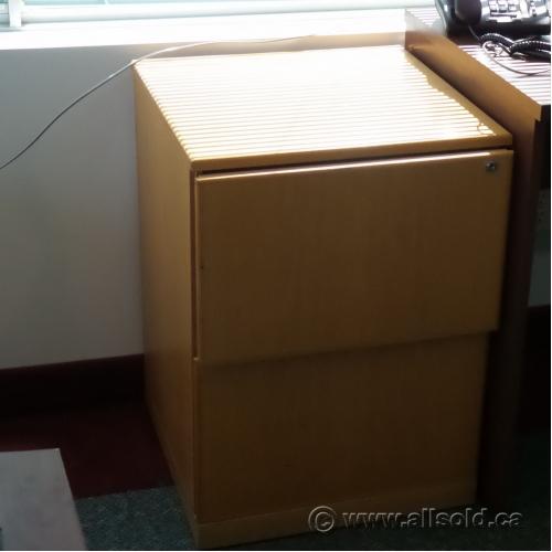 Blonde Oak Kitchen Cabinets: Blonde Oak 2 Drawer Pedestal File Cabinet, Locking