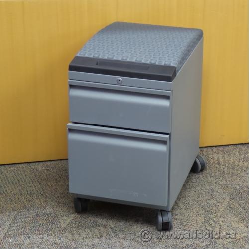 Grey 2 Drawer Rolling Pedestal With Cushion Locking