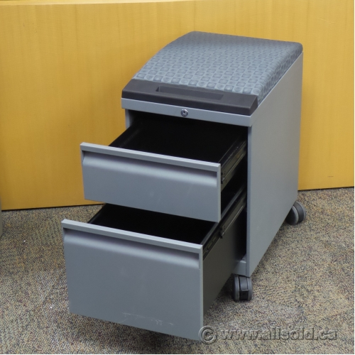 Grey 2 Drawer Rolling Pedestal With Cushion Locking