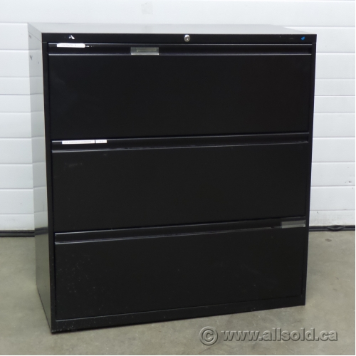 meridian black 3 drawer lateral file cabinet locking allsold ca buy sell used office