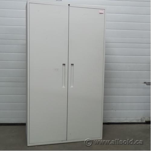 Teknion White Metal 2 Door Storage Cabinet Adjustable