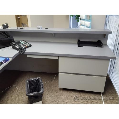 2 Tone Grey L Suite Reception Desk With Transaction