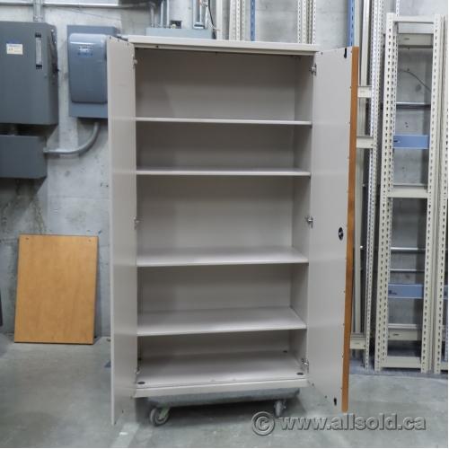 Used Kitchen Cabinets Calgary: Beige 2 Door Metal Storage Cabinet With Adjustable Shelves