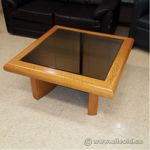 Square Glass And Oak Coffee Table: Oak And Smoked Glass Square Coffee Table