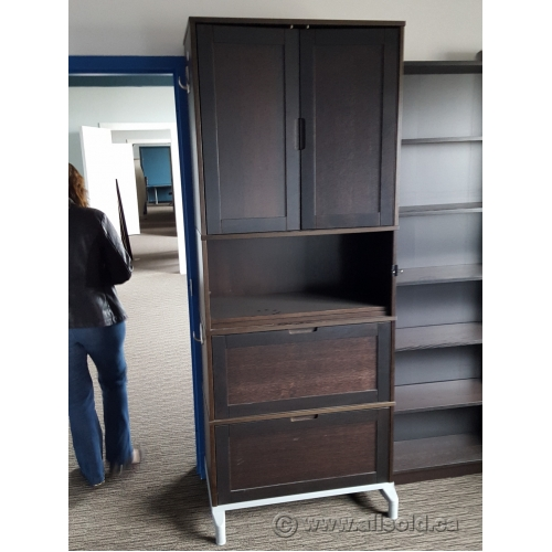 Ikea Espresso Wood Storage Cabinet 2 Drawers Enclosed Upper Buy Sell Used