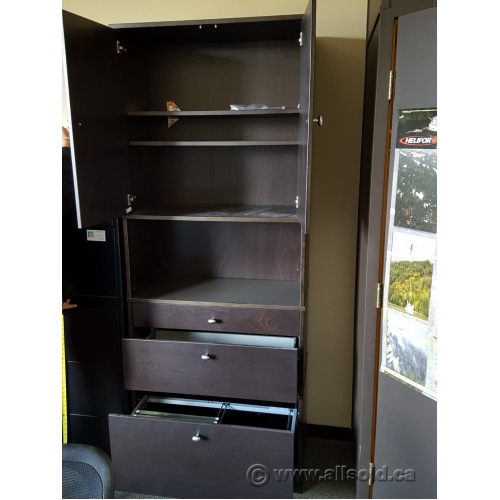 Espresso Wood Storage Cabinet 3 Drawers Enclosed Upper