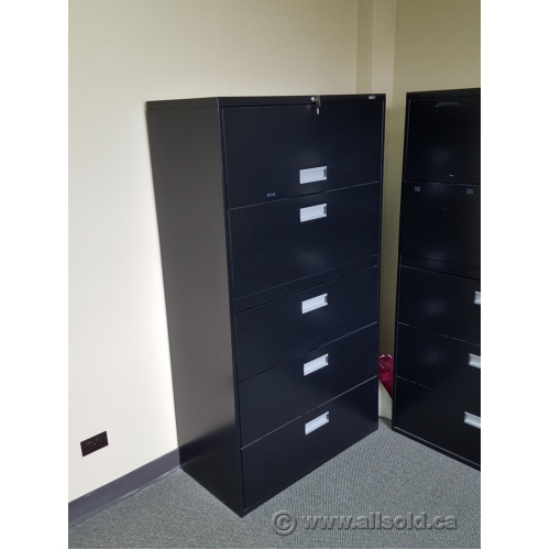 Staples Black 5 Drawer Lateral File Cabinet Locking