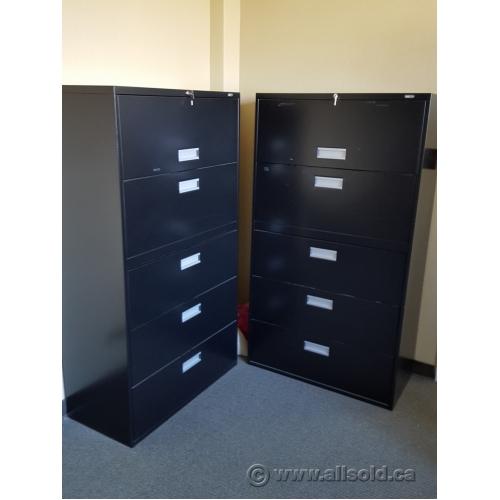 Staples Black 5 Drawer Lateral File Cabinet Locking