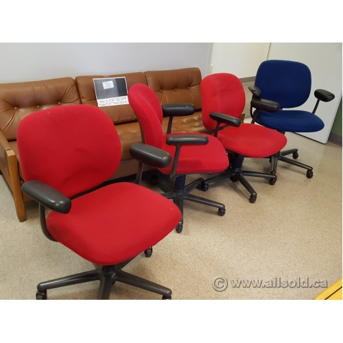 Herman Miller Red Adjustable Rolling Task Chair With Arms