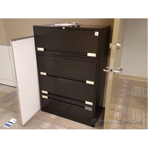 Black 36 Quot 4 Drawer Lateral Flip Front File Cabinet