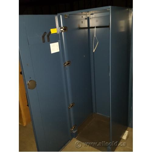 Grey Blue Metal Single Door Storage Wardrobe Cabinet
