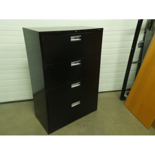 hon black 4 drawer lateral file cabinet locking w key buy sell used office. Black Bedroom Furniture Sets. Home Design Ideas