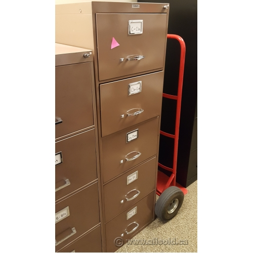 Sunar Brown 5 Drawer Vertical File Cabinet Locking