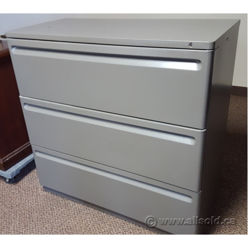 Herman Miller Grey 3 Drawer Lateral File Cabinet Locking