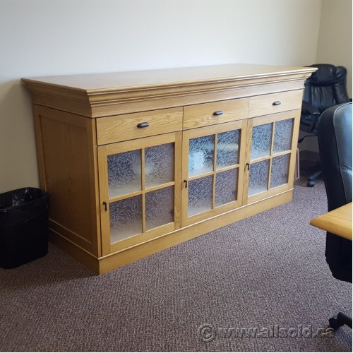 Blonde 3 Drawer Sidebar Credenza With 3 Door Storage